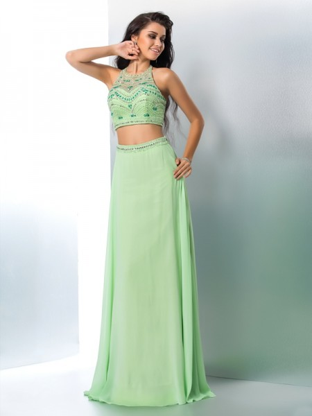 A-Line/Princess Sleeveless Halter Floor-Length Beading Chiffon Two Piece Dresses