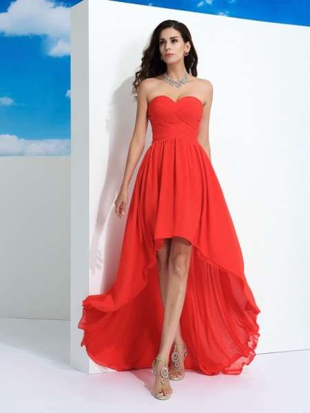 A-Line/Princess Sweetheart Sleeveless Asymmetrical Pleats Chiffon Dresses