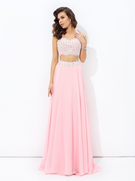 A-Line/Princess Straps Sleeveless Floor-Length Applique Chiffon Two Piece Dresses