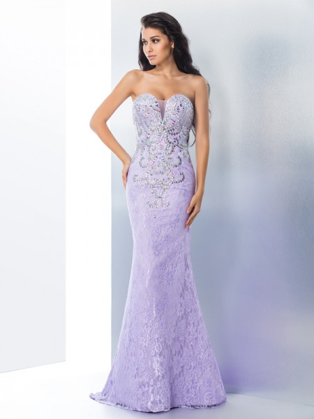 Trumpet/Mermaid Sweetheart Sleeveless Sweep/Brush Train Beading Lace Dresses