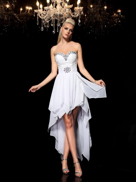 A-Line/Princess Sweetheart Sleeveless Asymmetrical Beading Chiffon Dresses