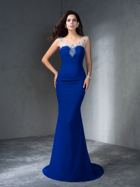 Trumpet/Mermaid Sleeveless Scoop Sweep/Brush Train Beading Chiffon Dresses
