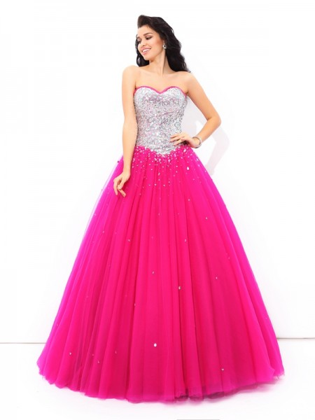 Ball Gown Sleeveless Sweetheart Floor-Length Beading Satin Dresses