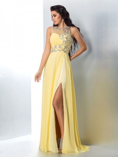 A-Line/Princess Sheer Neck Sleeveless Sweep/Brush Train Beading Chiffon Dresses