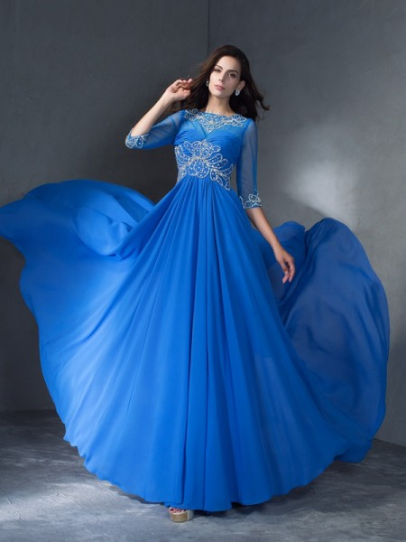 A-Line/Princess Scoop 1/2 Sleeves Sweep/Brush Train Beading Chiffon Dresses