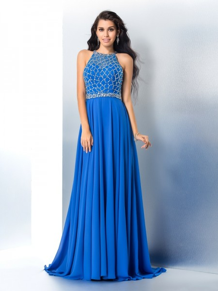 A-Line/Princess Sleeveless Scoop Sweep/Brush Train Beading Chiffon Dresses