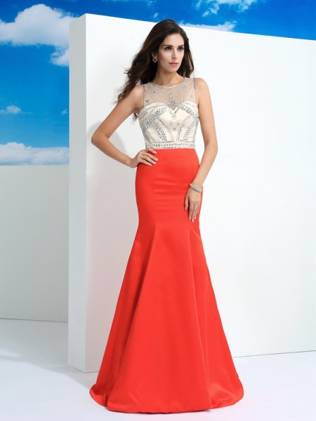 Trumpet/Mermaid Sheer Neck Sleeveless Floor-Length Beading Satin Dresses
