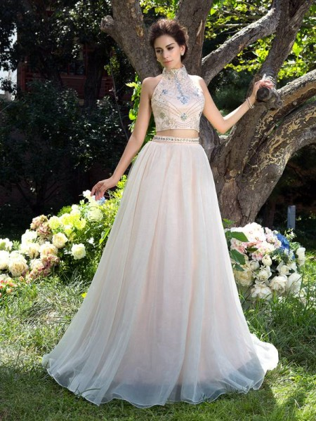 A-Line/Princess Sleeveless High Neck Sweep/Brush Train Beading Net Two Piece Dresses