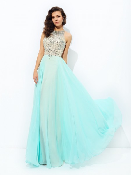 A-Line/Princess Sleeveless Jewel Floor-Length Beading Chiffon Dresses