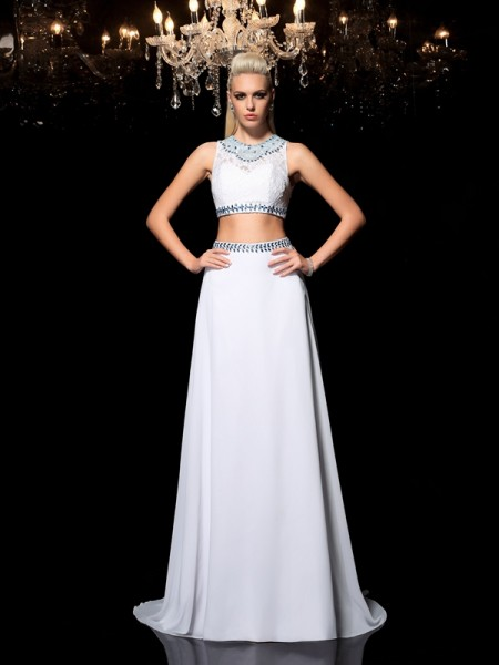 A-Line/Princess Jewel Sleeveless Floor-Length Beading Chiffon Two Piece Dresses