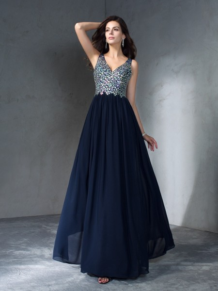 A-Line/Princess Sleeveless V-neck Floor-Length Beading Chiffon Dresses