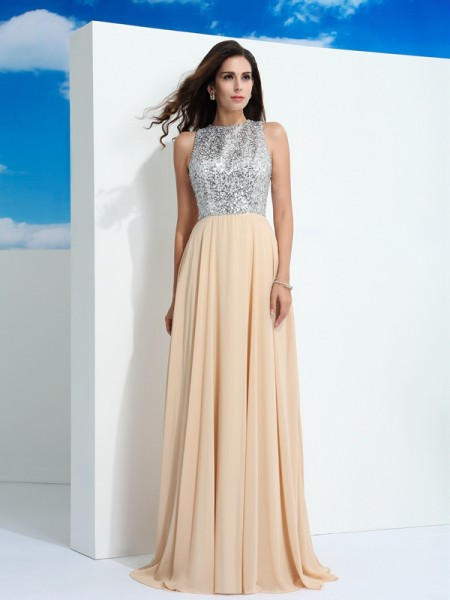 A-Line/Princess Sleeveless Scoop Sweep/Brush Train Paillette Chiffon Dresses