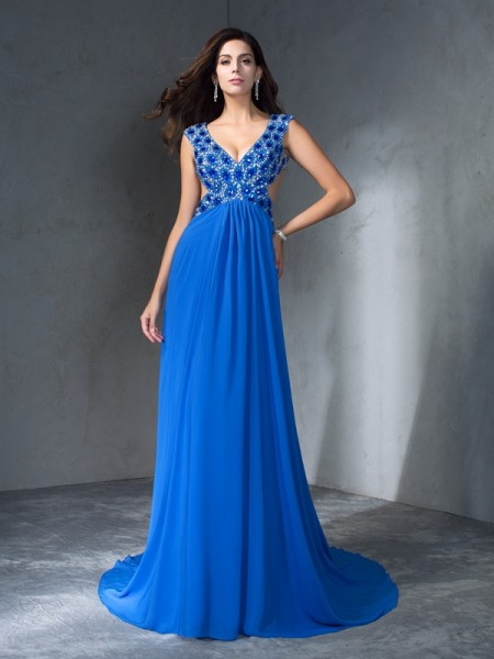 A-Line/Princess V-neck Sleeveless Sweep/Brush Train Sequin Chiffon Dresses
