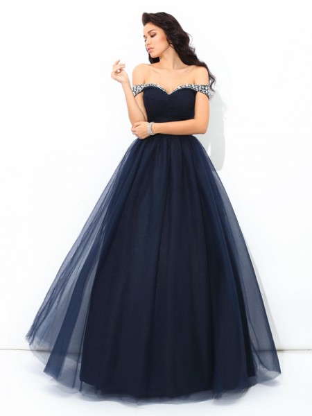 Ball Gown Sleeveless Off-the-Shoulder Floor-Length Beading Net Dresses