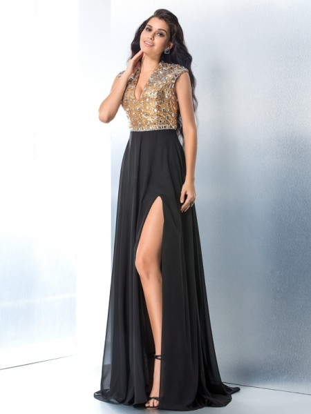 A-Line/Princess V-neck Sleeveless Sweep/Brush Train Rhinestone Chiffon Dresses