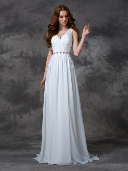 A-Line/Princess V-neck Sleeveless Sweep/Brush Train Beading Chiffon Wedding Dresses