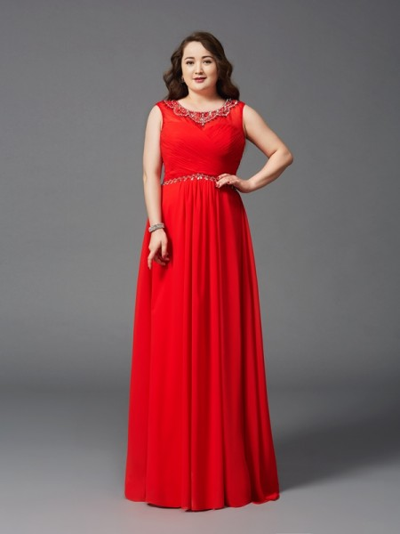 A-Line/Princess Sleeveless Scoop Floor-Length Beading Chiffon Plus Size Dresses