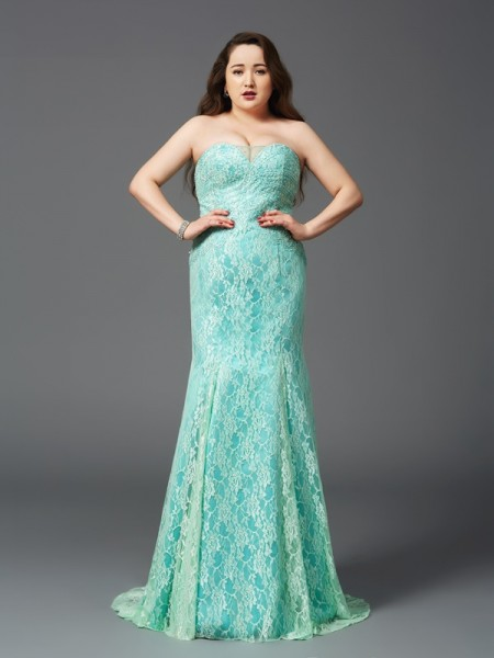 Sheath/Column Sleeveless Strapless Court Train Lace Satin Plus Size Dresses