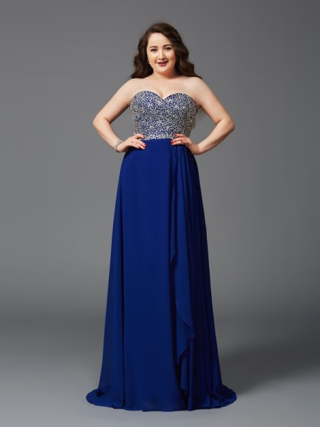 A-Line/Princess Sleeveless Sweetheart Sweep/Brush Train Rhinestone Chiffon Plus Size Dresses