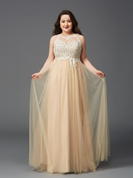 A-Line/Princess Scoop Sleeveless Floor-Length Rhinestone Net Plus Size Dresses