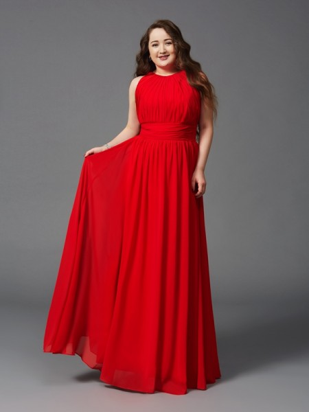 A-Line/Princess Sleeveless Jewel Floor-Length Ruched Chiffon Plus Size Dresses