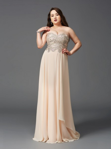 A-Line/Princess Sweetheart Sleeveless Sweep/Brush Train Rhinestone Chiffon Plus Size Dresses