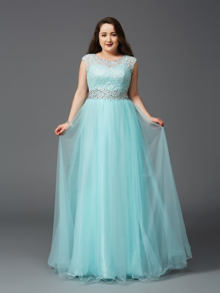 A-Line/Princess Sleeveless Scoop Floor-Length Rhinestone Elastic Woven Satin Plus Size Dresses