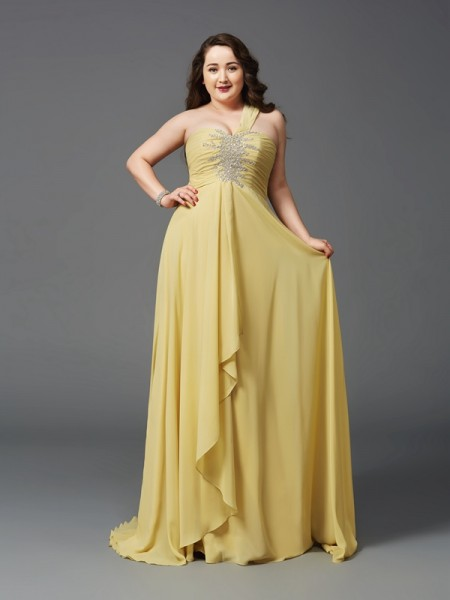 A-Line/Princess One-Shoulder Sleeveless Sweep/Brush Train Rhinestone Chiffon Plus Size Dresses