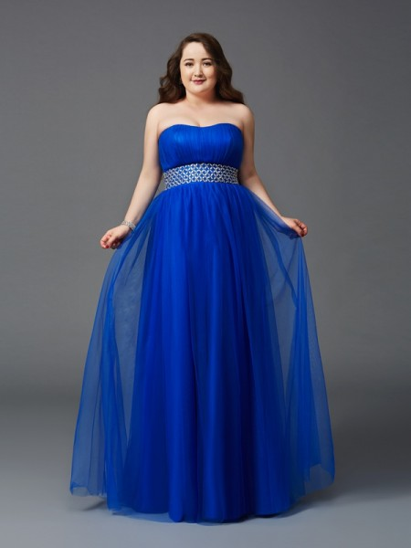 A-Line/Princess Sleeveless Strapless Floor-Length Rhinestone Net Plus Size Dresses