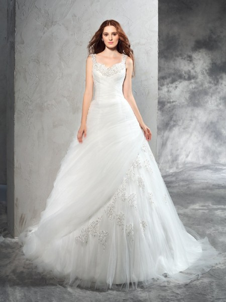 Ball Gown Straps Sleeveless Court Train Applique Net Wedding Dresses