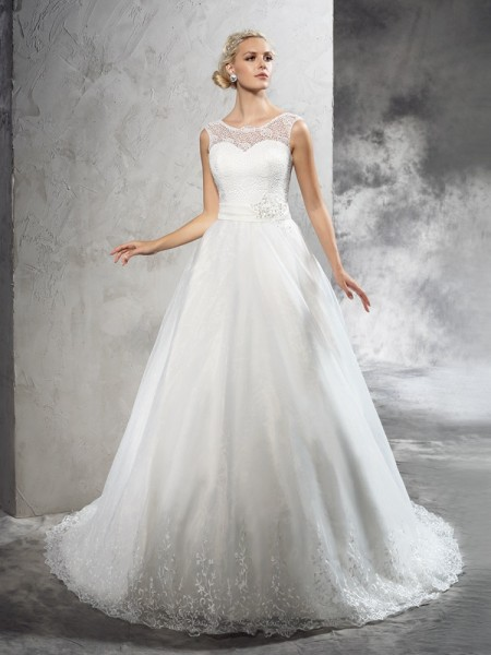 Ball Gown Sleeveless Sheer Neck Court Train Sash/Ribbon/Belt Net Wedding Dresses