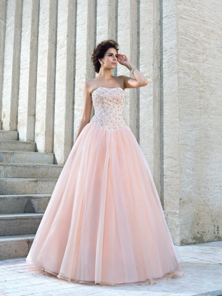 Ball Gown Sleeveless Strapless Floor-Length Beading Satin Wedding Dresses