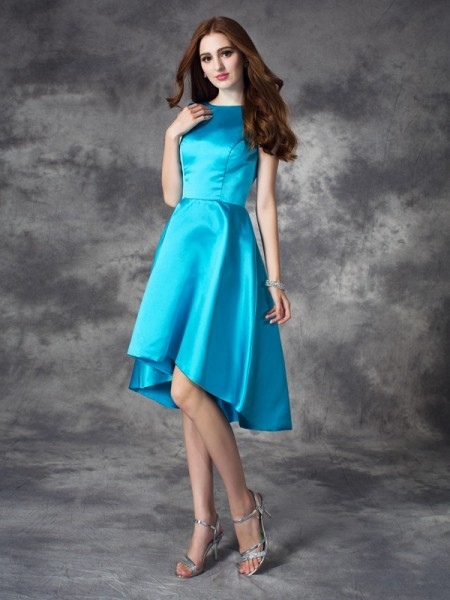 A-Line/Princess Sleeveless Bateau Asymmetrical Ruffles Satin Dresses