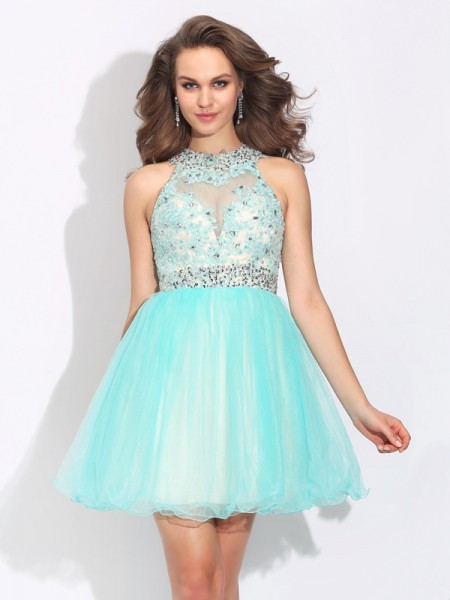 A-Line/Princess Sleeveless High Neck Short/Mini Lace Net Dresses