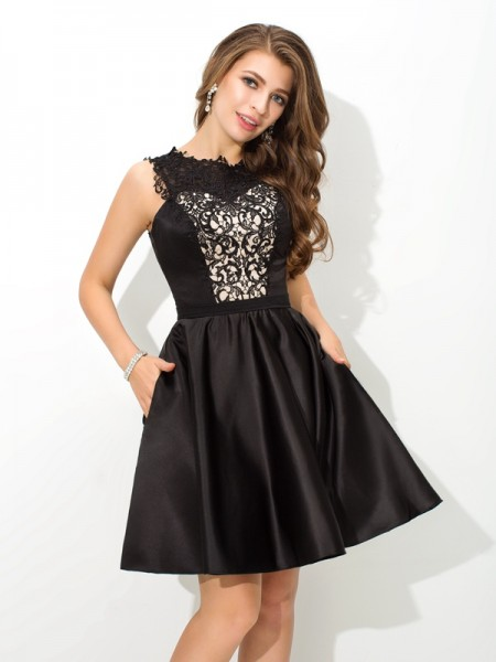 A-Line/Princess Sleeveless Scoop Short/Mini Lace Satin Dresses