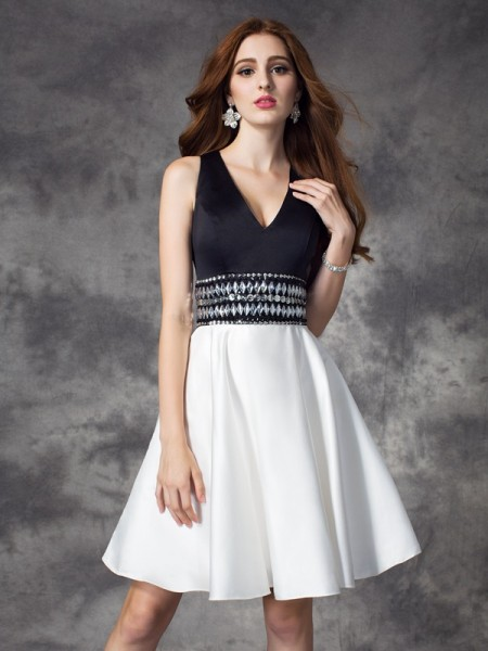 A-Line/Princess V-neck Sleeveless Short/Mini Rhinestone Satin Dresses