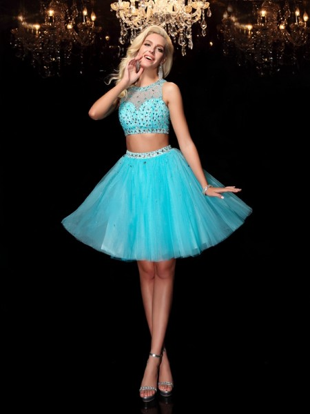 A-Line/Princess Scoop Sleeveless Short/Mini Rhinestone Net Dresses