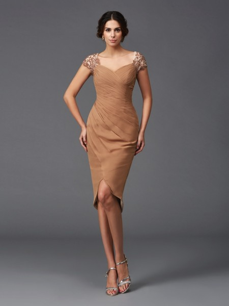 Sheath/Column Sweetheart Short Sleeves Asymmetrical Applique Chiffon Dresses