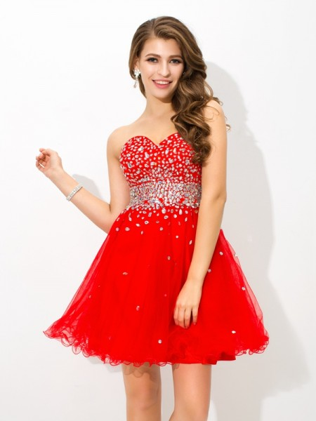 A-Line/Princess Sweetheart Sleeveless Short/Mini Beading Organza Dresses