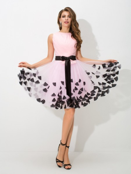 A-Line/Princess High Neck Sleeveless Short/Mini Bowknot Net Dresses