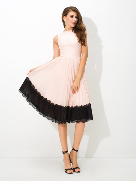 A-Line/Princess Sleeveless High Neck Tea-Length Lace Chiffon Dresses