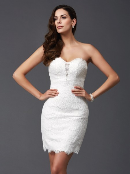 Sheath/Column Sweetheart Sleeveless Short/Mini Lace Lace Dresses