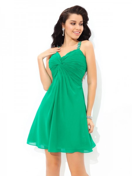 A-Line/Princess Sleeveless Straps Short/Mini Pleats Chiffon Dresses