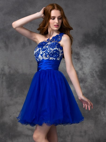 A-Line/Princess One-Shoulder Sleeveless Short/Mini Lace Satin Dresses