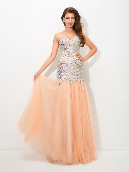 Trumpet/Mermaid Sweetheart Sleeveless Floor-Length Beading Net Dresses