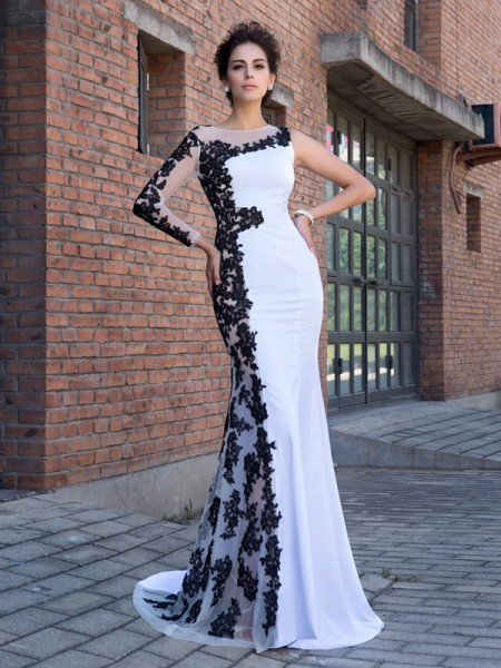 Trumpet/Mermaid Scoop Long Sleeves Sweep/Brush Train Applique Chiffon Dresses