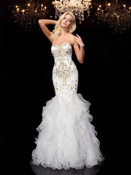 Trumpet/Mermaid Sweetheart Sleeveless Floor-Length Beading Organza Dresses