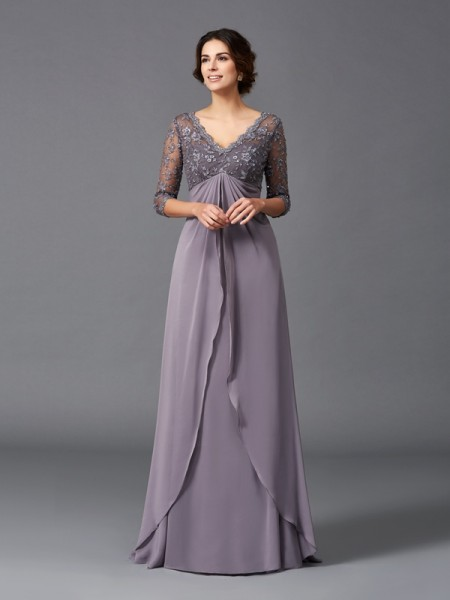 A-Line/Princess V-neck 3/4 Sleeves Floor-Length Lace Chiffon Mother of the Bride Dresses