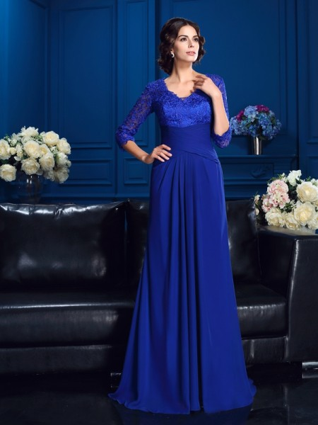 A-Line/Princess 3/4 Sleeves V-neck Sweep/Brush Train Applique Chiffon Mother of the Bride Dresses