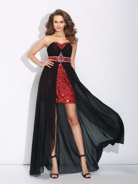 A-Line/Princess Sleeveless Sweetheart Asymmetrical Sequin Chiffon Dresses